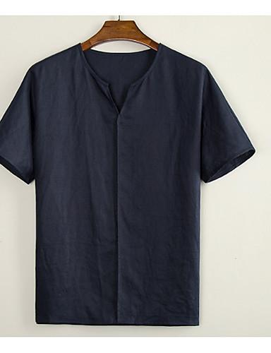voordelige Heren T-shirts & tanktops-Heren T-shirt Effen Wit