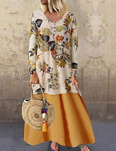 billige Kjoler med trykk-Dame A-linje Kjole - Blomstret Maksi