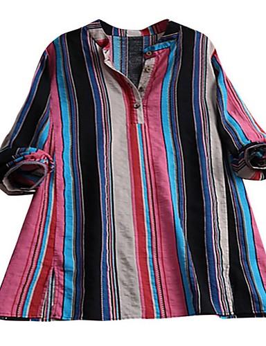 billige Topper til damer-Skjorte Dame - Stripet Rød