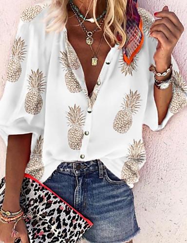 billige Dametopper-Skjorte Dame - Frukt Hvit