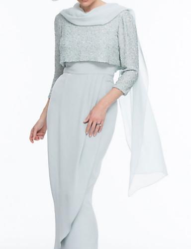 voordelige Wrap Dresses-Tweedelig Met sieraad Tot de enkel Chiffon / Pailletten Bruidsmoederjurken met Ruches door LAN TING Express / Wrap inbegrepen