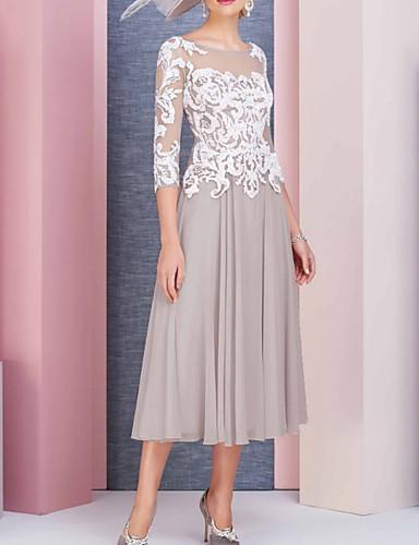 billige Kjoler-Dame Elegant A-linje Kjole - Blomstret, Blonde Midi