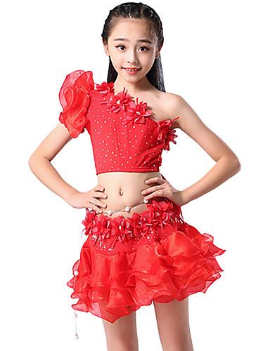 voordelige Shall We®-Buikdans / Kinderdanskleding Outfits Meisjes Opleiding / Prestatie Netstof / Melkvezel Appliqués / Gelaagde ruches / Pailletten Korte mouw Natuurlijk Rokken / Top