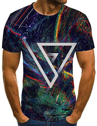 voordelige Heren T-shirts & tanktops-Heren Street chic Geplooid / Print T-shirt Kleurenblok / 3D / Regenboog Regenboog