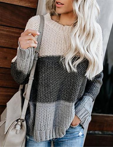 povoljno Ženske majice-Žene Prugasti uzorak / Color block Dugih rukava Pullover Jesen / Zima Crn / Žutomrk S / M / L