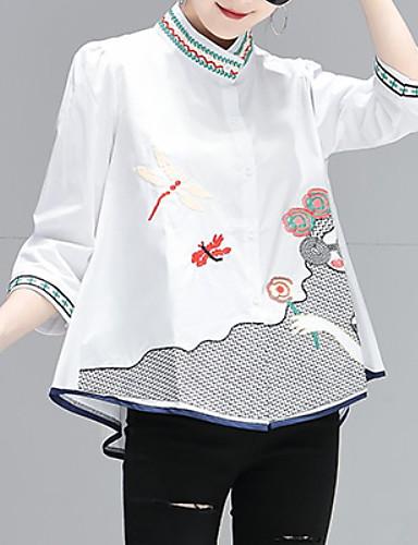billige Dametopper-Skjorte Dame - Grafisk, Broderi Gatemote Hvit