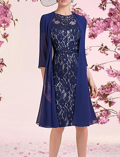 abordables Robes Femme-Femme Elégant Mi-long Deux Pièces Robe - Dentelle, Fleur Bleu Marine M L XL Manches 3/4