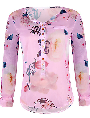 billige Dametopper-Skjorte Dame - Blomstret Bohem Hvit