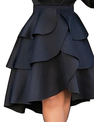 זול חצאיות לנשים-אחיד - חצאיות א-סימטרי גזרת A בגדי ריקוד נשים שחור S M L / שכבות מרובות