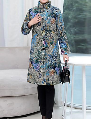 voordelige Dames donsjassen & parka's-Dames Bloemen Lang Gewatteerd, Polyester blauw / Rood M / L / XL