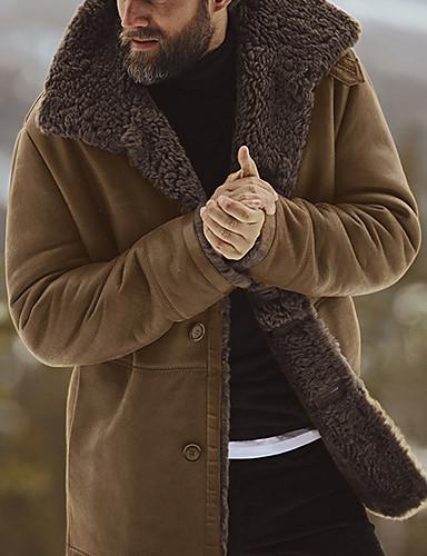 voordelige Herenmode-Heren Dagelijks Standaard Herfst winter Normaal Jas, Effen Opstaand Lange mouw Polyester Zwart / Leger Groen / Bruin