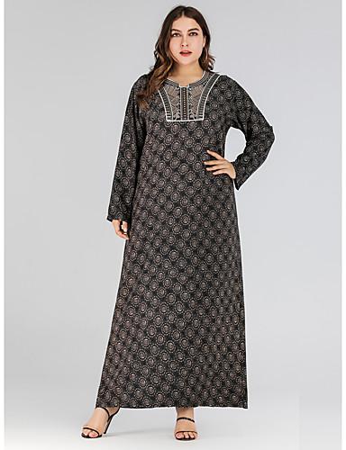 voordelige Grote maten jurken-Dames Vintage Standaard Recht Jurk - Bloemen, Geborduurd Print Maxi