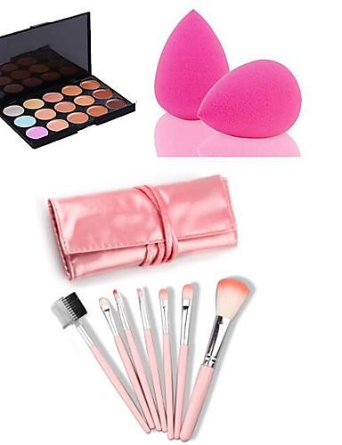 hesapli Makyaj Setleri-15 Renk Haki Kapatıcı / Kontur Makyaj Fırçaları Kuru / Kombinasyon / Yağlı Uzun Ömürlü / Kapatıcı Yüz Makyaj Kozmetik