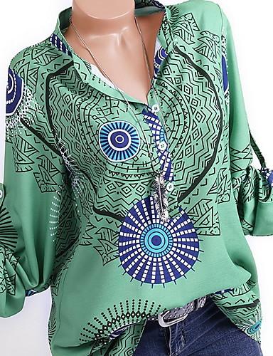 billige Dametopper-Skjorte Dame - Geometrisk, Trykt mønster Blå
