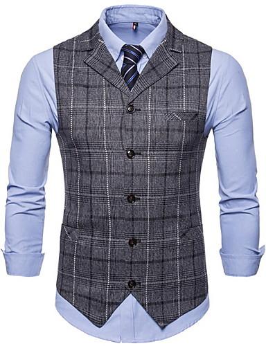 voordelige Herenblazers & kostuums-Heren Vest, Ruitjes Ingesneden revers Polyester Bruin / Donkergrijs