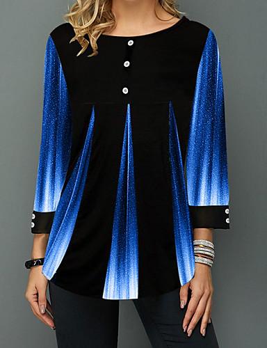 povoljno Ženske majice-Bluza Žene - Osnovni Dnevno Color block Crn