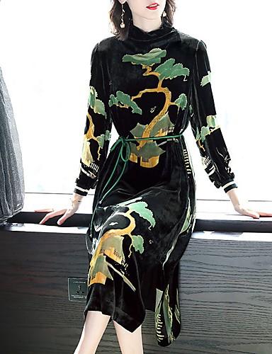billige Kjoler-Dame Sofistikerede Elegant Skift Kjole - Geometrisk, Blondér Midi Kran Ananas Daisy