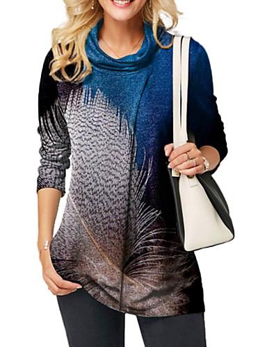 billige Topper til damer-T-skjorte Dame - Fargeblokk Blå