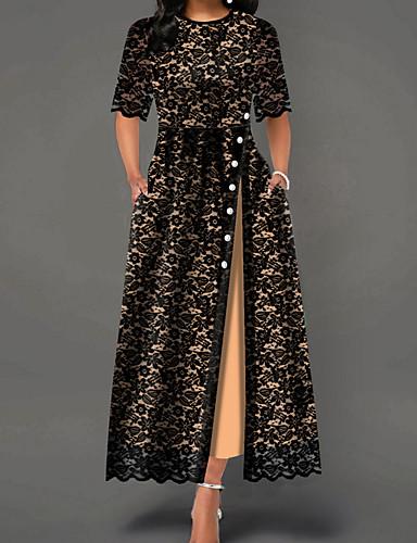 hesapli Maksi Elbiseler-Kadın's Temel Kılıf Elbise - Çiçekli, Dantel Bölünmüş Maksi