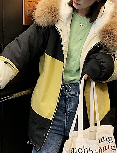 voordelige Dames donsjassen & parka's-Dames Kleurenblok Normaal Dons, Nylon Blozend Roze / Geel / Grijs M / L / XL