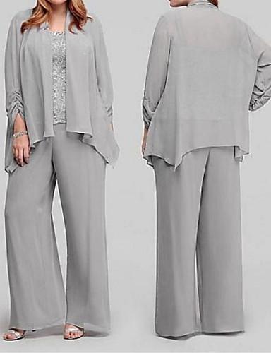 voordelige Wrap Dresses-Tweedelig / pantsuit hihnat Tot de grond Chiffon Bruidsmoederjurken met Appliqués / Drapering door LAN TING Express / Wrap inbegrepen