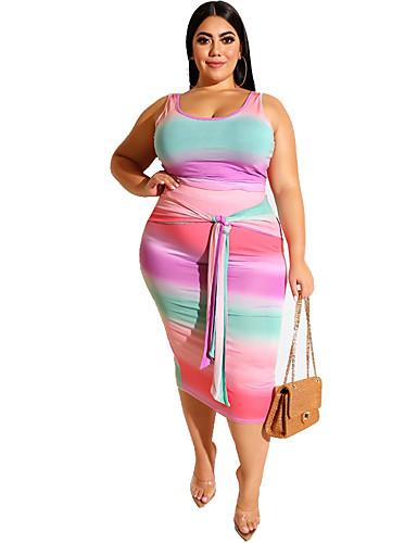 voordelige Grote maten jurken-Dames Boho Elegant Bodycon Recht Schede Jurk - Geometrisch Regenboog Midi