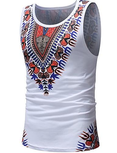 voordelige Heren T-shirts & tanktops-Heren Print Singlet Geometrisch Wit