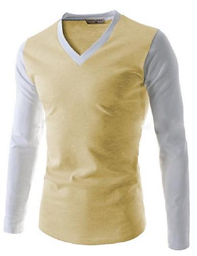 voordelige Heren T-shirts & tanktops-Heren Standaard / Elegant T-shirt Effen Wit
