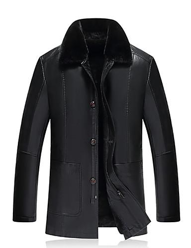 voordelige Herenjacks & jassen-Heren Dagelijks Standaard Winter Normaal Leren jacks, Ruitjes V-hals Lange mouw Spandex Zwart