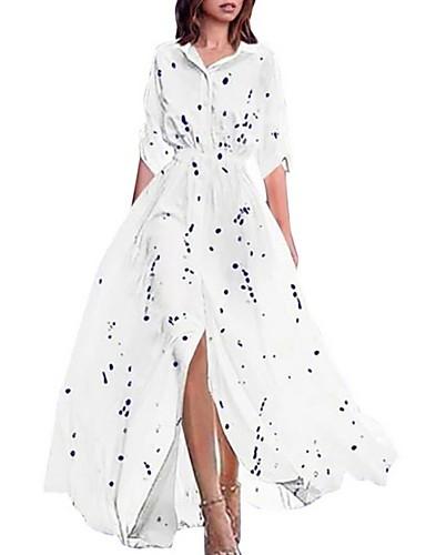 voordelige Maxi-jurken-Dames Elegant Wijd uitlopend Jurk - Polka dot, Pailletten Maxi