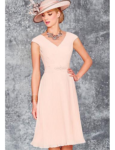 voordelige Wrap Dresses-A-lijn V-hals Tot de knie Chiffon Bruidsmoederjurken met Sjerp / Lint / Ruches door LAN TING Express / Wrap inbegrepen
