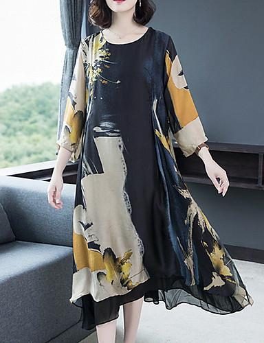 cheap Print Dresses-Women's Swing Dress - Floral Print Black M L XL XXL