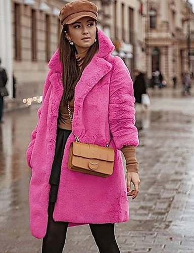 ieftine Geci de Damă-Pentru femei Zilnic Regular Faux Fur Coat, Mată Răsfrânt Manșon Lung Blană Artificială Fucsia