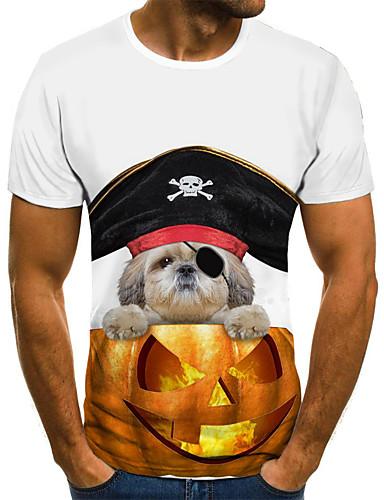 voordelige Heren T-shirts & tanktops-Heren Street chic Geplooid / Print T-shirt Geometrisch / 3D / Cartoon Goud