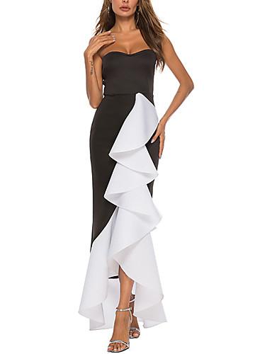 voordelige Maxi-jurken-Dames A-lijn Jurk - Effen Asymmetrisch