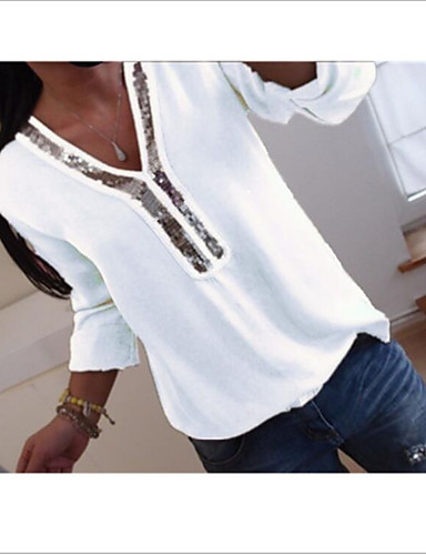 povoljno Majica-Majica Žene Jednobojni V izrez Šljokice Crn