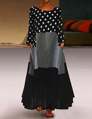 voordelige Maxi-jurken-Dames Grote maten Ruimvallend Abaya Jurk - Polka dot, Patchwork  Maxi