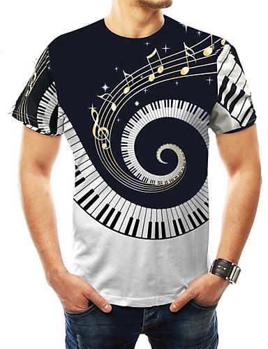 hesapli Erkek Tişörtleri ve Atletleri-Erkek Yuvarlak Yaka Tişört Desen, Zıt Renkli Temel Büyük Bedenler Siyah / Kısa Kollu