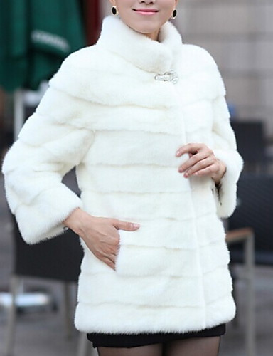 abordables Manteaux & Vestes Femme-Femme Quotidien Basique Normal Manteau de fausse fourrure, Couleur Pleine Col Roulé Manches Longues Fausse Fourrure Blanche