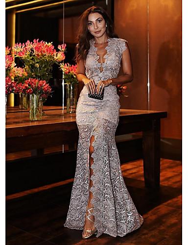 voordelige Maxi-jurken-Dames Feest Elegant Trompet / zeemeermin Jurk - Geometrisch, Kant Diepe V-hals Maxi