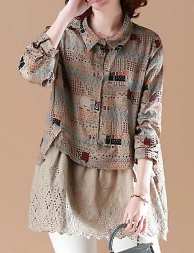 billige Dametopper-Skjorte Dame - Fargeblokk, Trykt mønster Gatemote Kakifarget