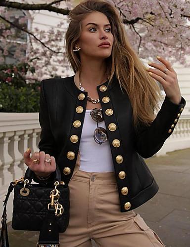 رخيصةأون فرو نسائي و جلد-نسائي مناسب للبس اليومي أساسي خريف & شتاء عادية جواكيت جلد, لون سادة رقبة دائرية كم طويل PU أسود