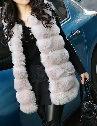Недорогие Верхняя одежда-Жен. Повседневные Наступила зима Обычная Жилет, Однотонный V-образный вырез Без рукавов Искусственный мех Черный / Белый / Лиловый