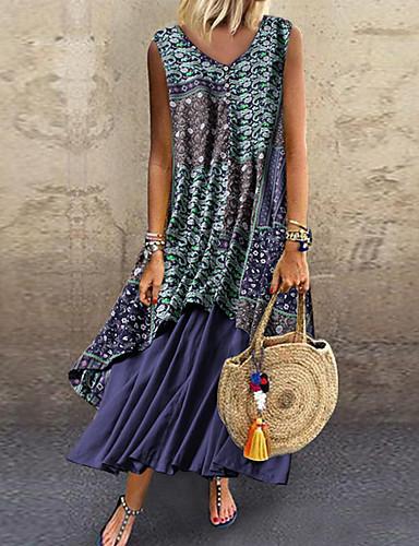 cheap Print Dresses-Women's Chiffon Dress - Color Block Print Light Blue Blue Red M L XL XXL