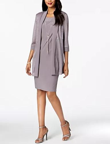 voordelige Wrap Dresses-A-lijn / Tweedelig Met sieraad Tot de knie Polyester Bruidsmoederjurken met Drapering door LAN TING Express / Wrap inbegrepen