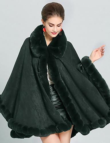 voordelige Damesjassen & trenchcoats-Dames Dagelijks Herfst winter Lang Cloak / Capes, Effen V-hals Lange mouw Katoen Zwart / Blozend Roze / Klaver