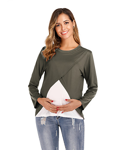 billige Topper til damer-T-skjorte Dame - Ensfarget / Fargeblokk, Lapper Grunnleggende Svart