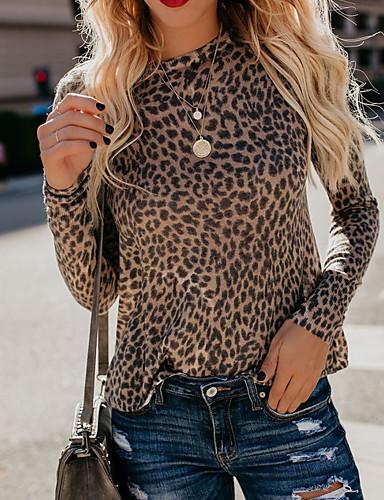 Majica s rukavima Žene Dnevno Leopard Braon
