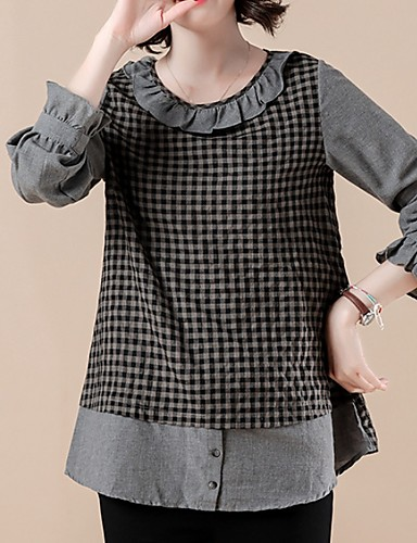 abordables Hauts pour Femmes-Tee-shirt Femme, Tartan Noir