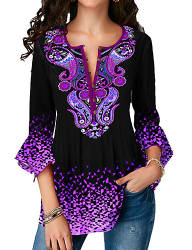 billige Dametopper-Skjorte Dame - Geometrisk, Trykt mønster Grunnleggende Lilla